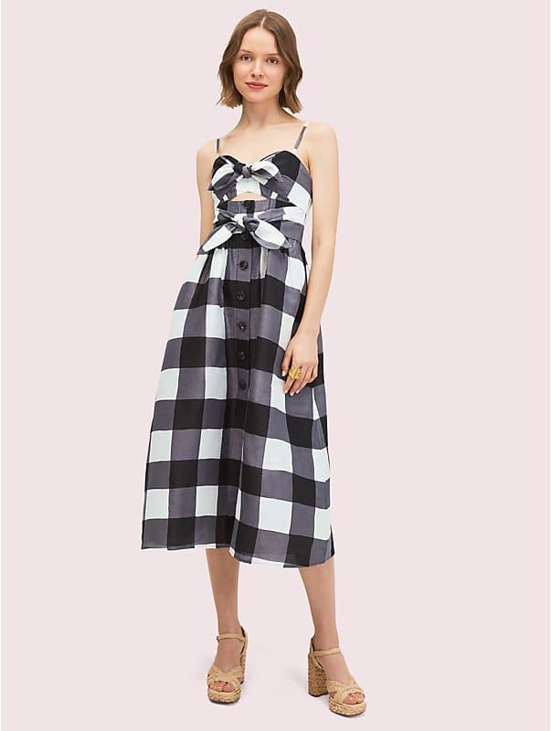 gingham tie front dress, , rr_large