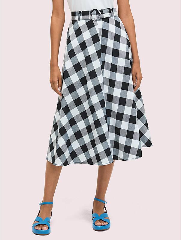 Kate Spade Women's Gingham Midi Skirt In Black