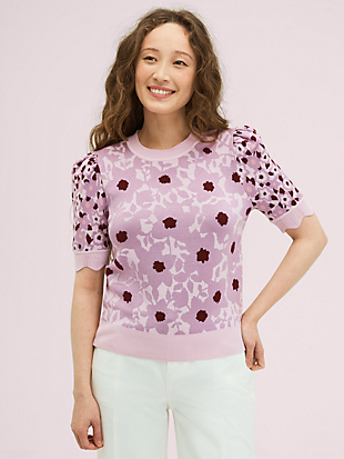 begonia jacquard sweater by kate spade new york non-hover view