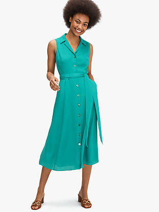 satin smocked shirtdress by kate spade new york non-hover view