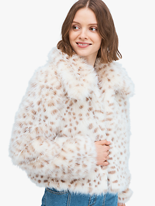 spotted faux fur jacket by kate spade new york hover view