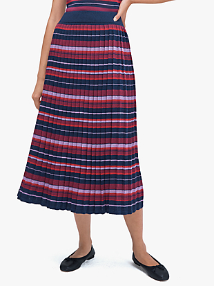 striped pleated skirt by kate spade new york non-hover view