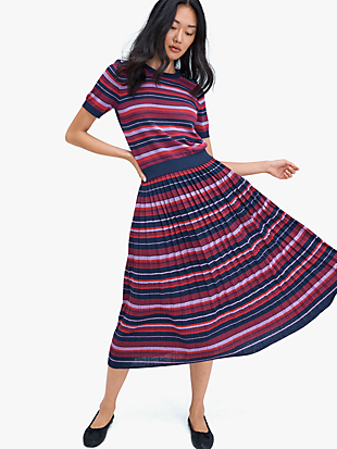 striped pleated skirt by kate spade new york hover view