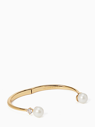 pearls of wisdom open hinged bangle by kate spade new york hover view
