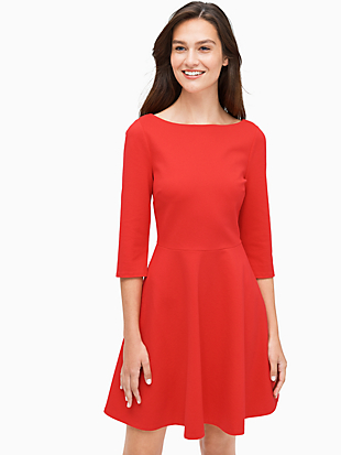 boat neck ponte dress by kate spade new york non-hover view