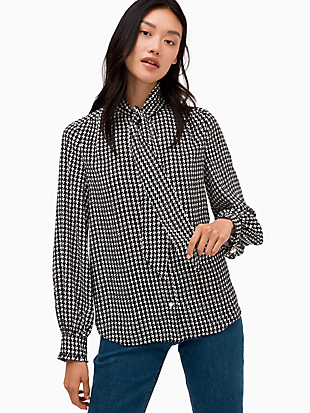 houndstooth tie neck shirt by kate spade new york non-hover view