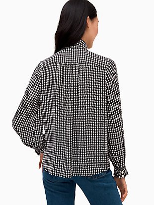 houndstooth tie neck shirt by kate spade new york hover view