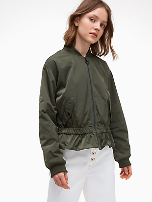 twill flounce bomber by kate spade new york hover view
