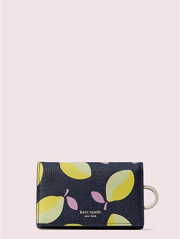 Kleine Margaux Brieftasche mit Schlüsselring und Zitronenmuster, , rr_large