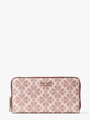 spade flower coated canvas zip-around continental wallet by kate spade new york hover view