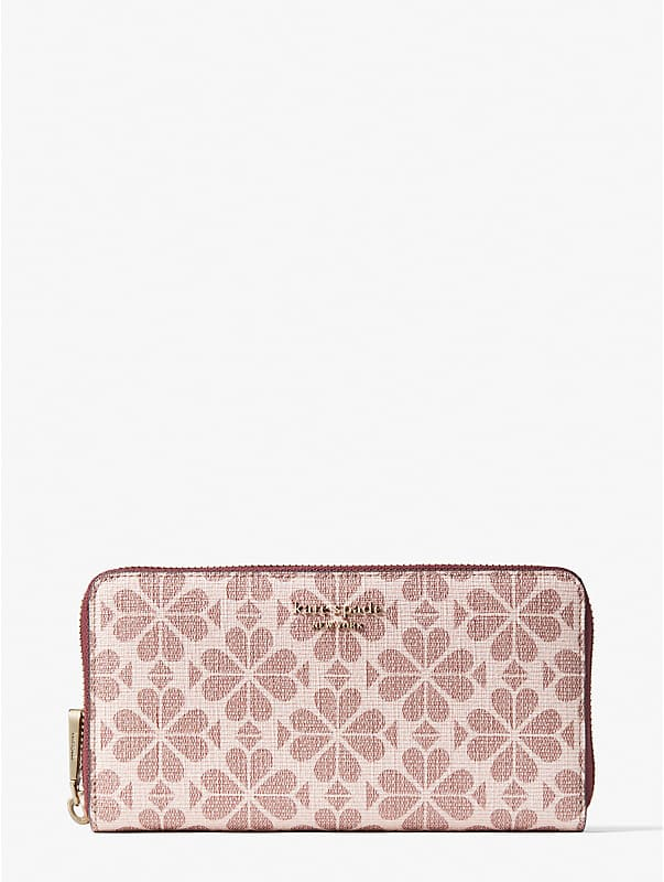 spade flower coated canvas zip-around continental wallet, , rr_large
