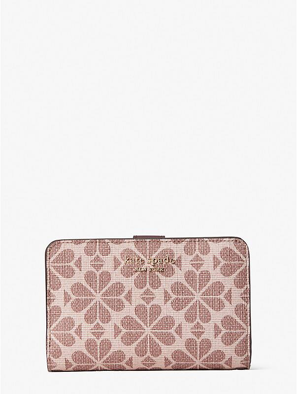 spade flower coated canvas compact wallet, , rr_large