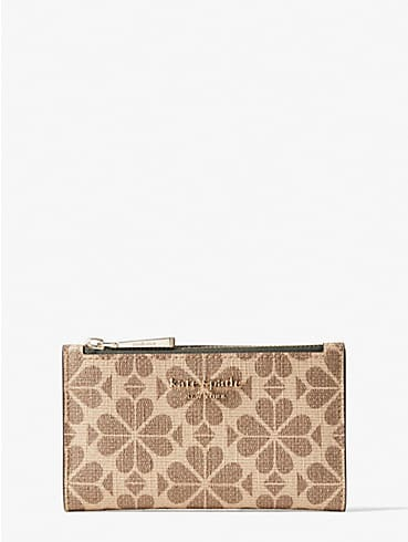 spade flower coated canvas small slim bifold wallet, , rr_productgrid