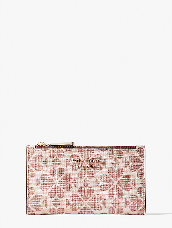 spade flower coated canvas small slim bifold wallet, , rr_large
