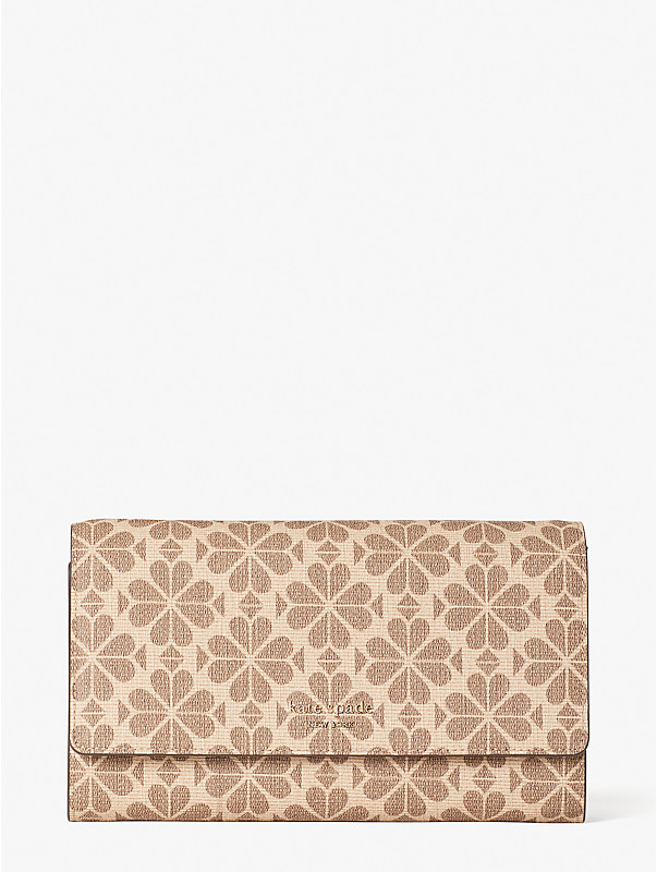 spade flower coated canvas chain clutch, , rr_large