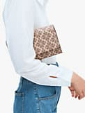 spade flower coated canvas chain clutch, , s7productThumbnail