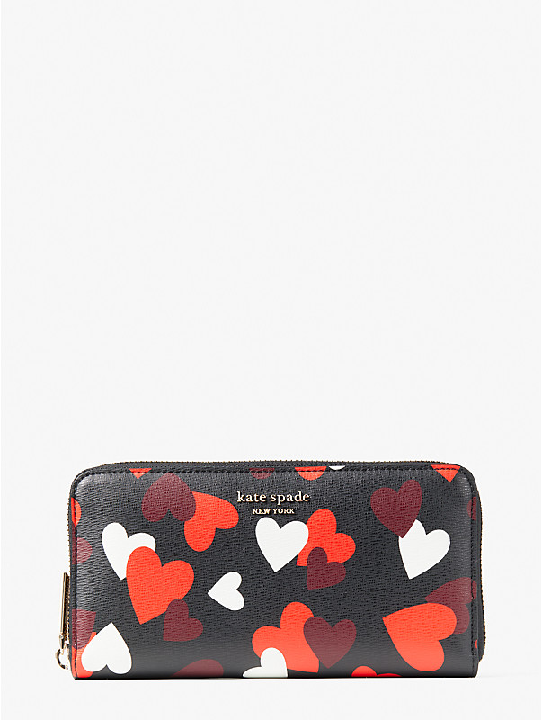 spencer celebration hearts zip-around continental wallet, , rr_large