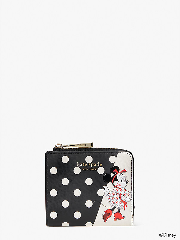 disney x kate spade new york minnie mouse small bifold wallet, , rr_large