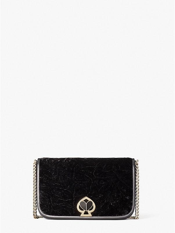 Nicola Brieftasche aus Samt mit Drehverschluss und Kettenriemen, , rr_large