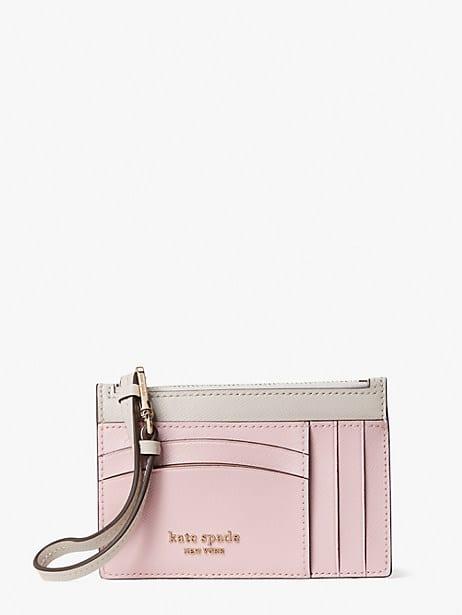 spencer cardholder wristlet, tutu pink/crisp linen, large by kate spade new york
