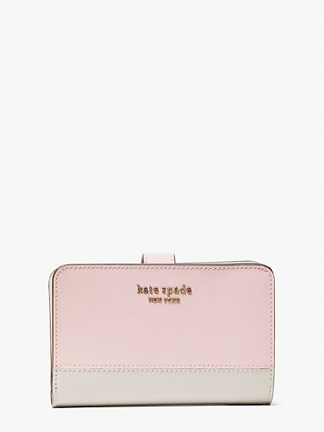 spencer compact wallet, tutu pink/crisp linen, large by kate spade new york