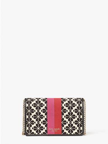 Spade Flower Jacquard Portemonnaie mit Kettenriemen und Streifen, , rr_productgrid