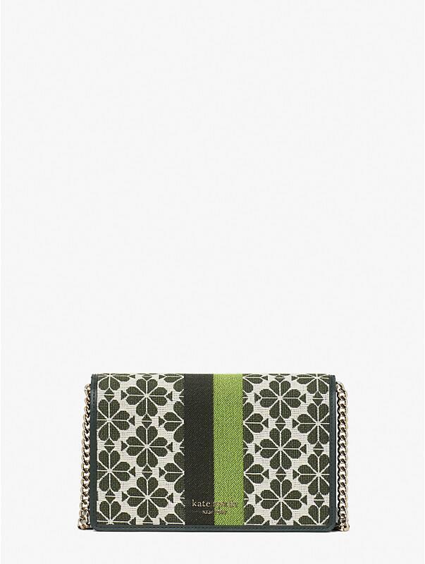 spade flower jacquard stripe chain wallet, , rr_large