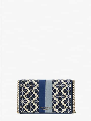 spade flower jacquard stripe chain wallet, , rr_productgrid