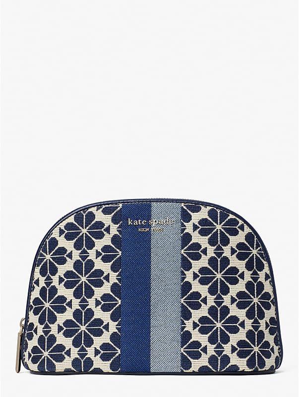spade flower jacquard stripe large dome cosmetic case, , rr_large