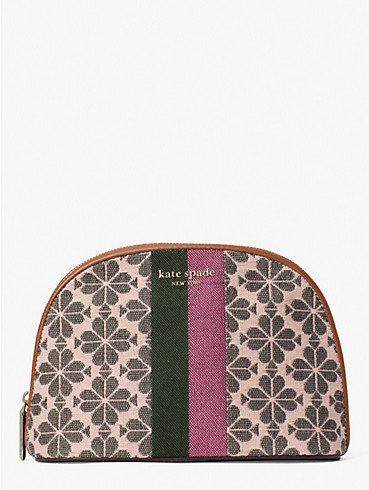 spade flower jacquard stripe large dome cosmetic case, , rr_productgrid