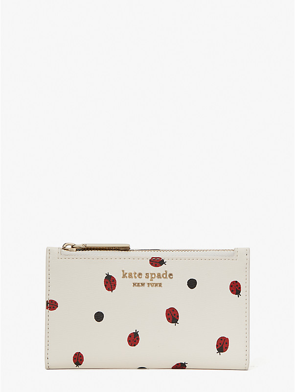 lady bug dots small slim bifold wallet, , rr_large