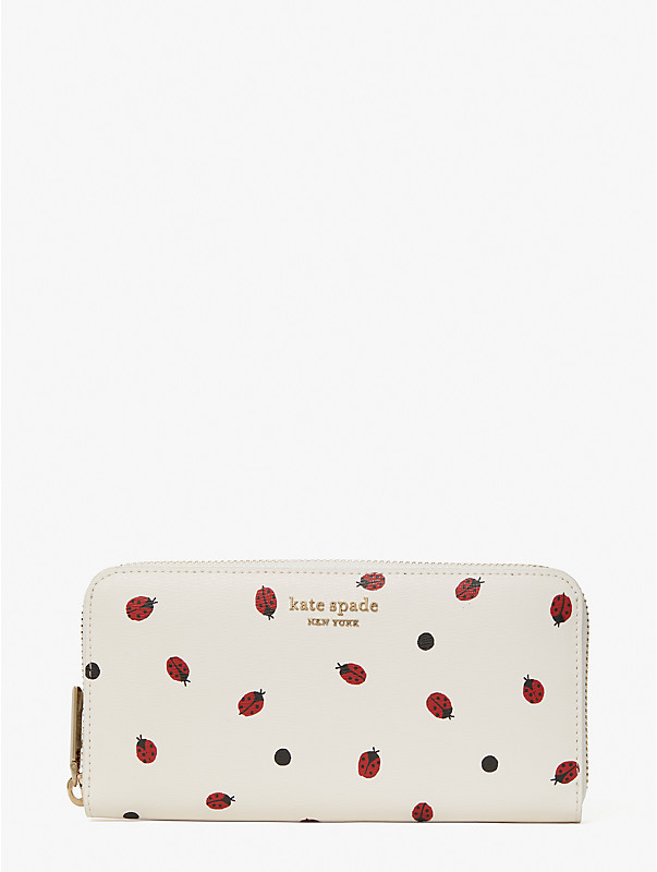 lady bug dots zip-around continental wallet, , rr_large