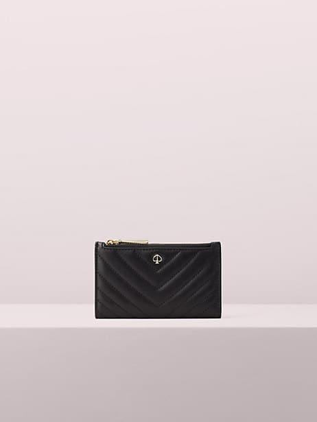 amelia small slim bifold wallet, black, large by kate spade new york