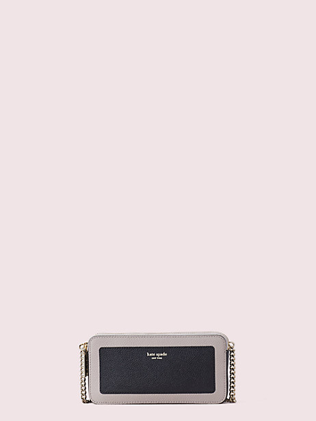 margaux double-zip mini crossbody, black/warm taupe, large by kate spade new york