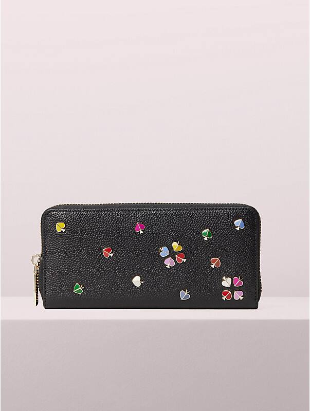margaux enamel spade slim continental wallet, , rr_large