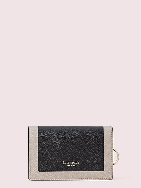 margaux small keyring wallet, black/warm taupe, large by kate spade new york
