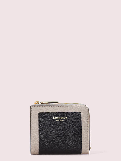 margaux small bifold wallet, black/warm taupe, large by kate spade new york