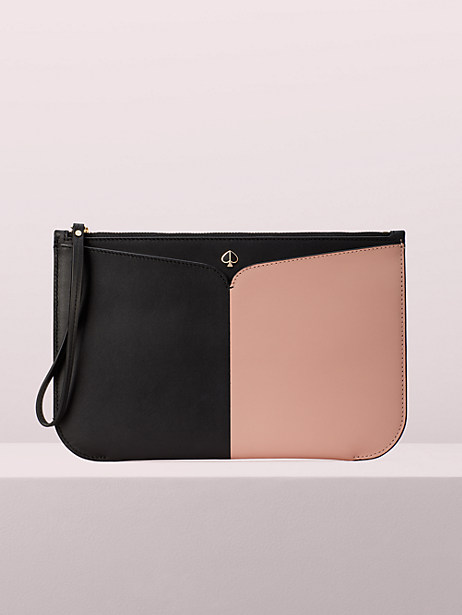 nicola bicolor large pouch wristlet, black/flapper pink, large by kate spade new york
