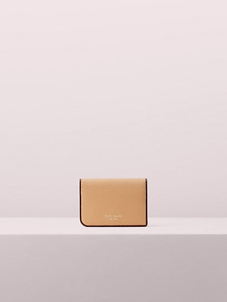 sam bifold cardholder, light fawn, large by kate spade new york