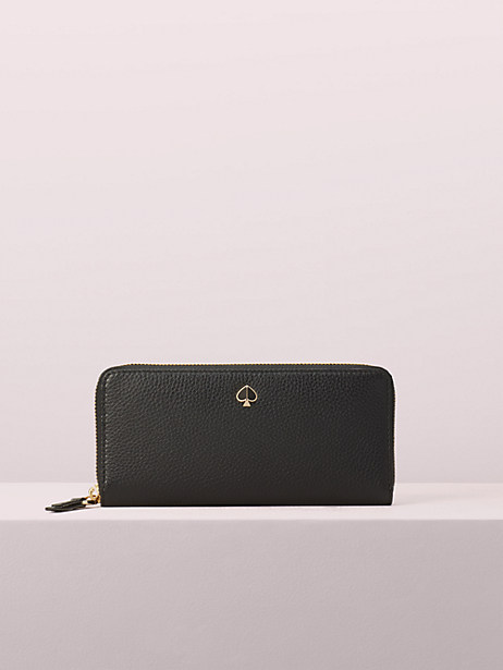 polly slim continental wallet, black, large by kate spade new york