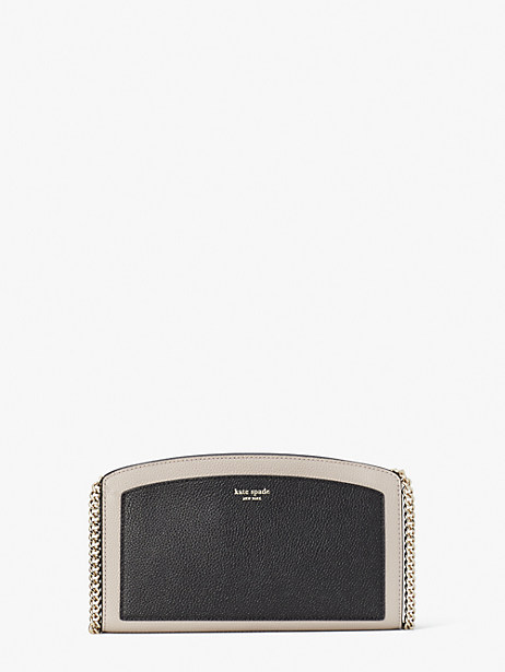 margaux east west crossbody, black/warm taupe, large by kate spade new york