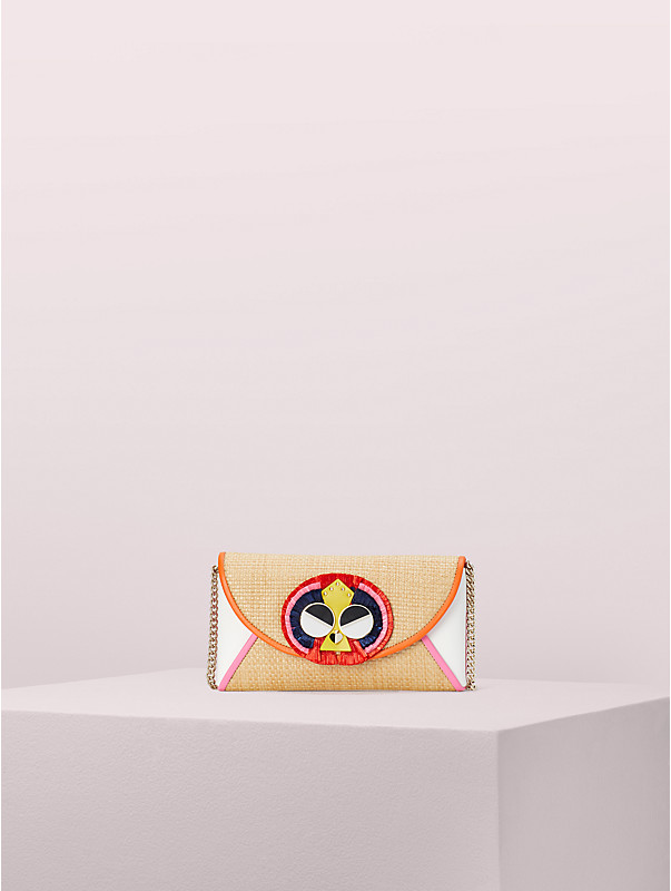 spademals raffia preeny peacock chain clutch , , rr_large
