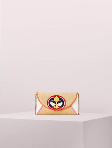 spademals raffia preeny peacock chain clutch , , rr_productgrid