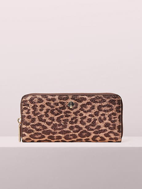metallic leopard slim continental wallet by kate spade new york