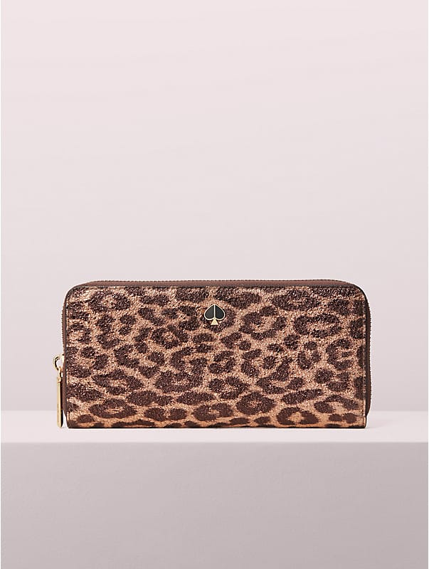 metallic leopard slim continental wallet, , rr_large