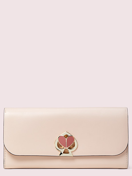 nicola twistlock flap continental wallet, blush, large by kate spade new york
