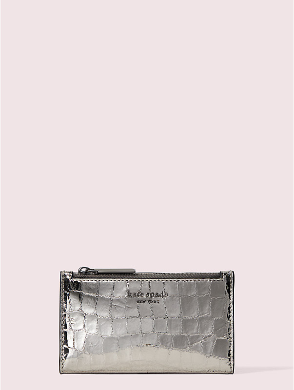 sylvia croc-embossed small slim bifold wallet, , rr_large