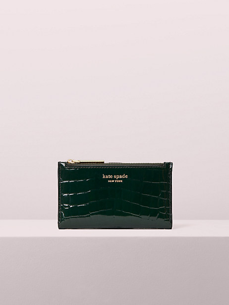 sylvia croc-embossed small slim bifold wallet by kate spade new york
