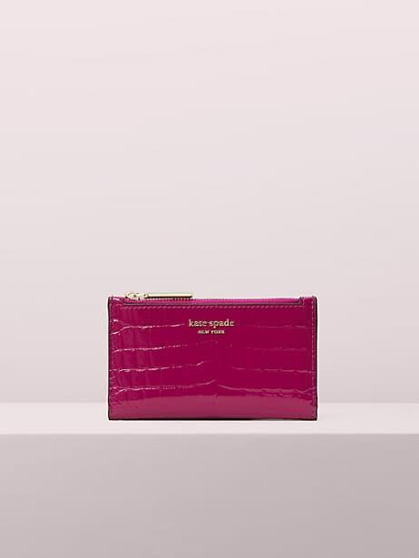 Sylvia croc-embossed small slim bifold wallet   Kate Spade New York