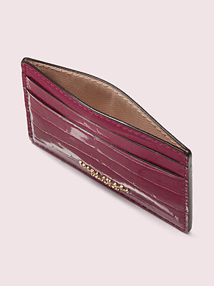 sylvia croc-embossed cardholder by kate spade new york hover view